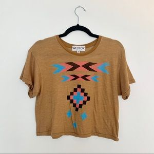 Wildfox Tribal Print Cropped T-shirt